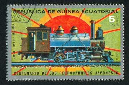 EQUATORIAL GUINEA - CIRCA 1983:  stamp printed by Equatorial Guinea, shows locomotive, circa 1983. Stock Photo - 15671287