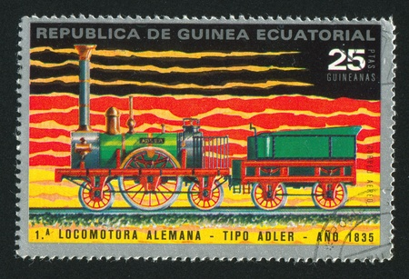 EQUATORIAL GUINEA - CIRCA 1983:  stamp printed by Equatorial Guinea, shows locomotive, circa 1983. Stock Photo - 15671286
