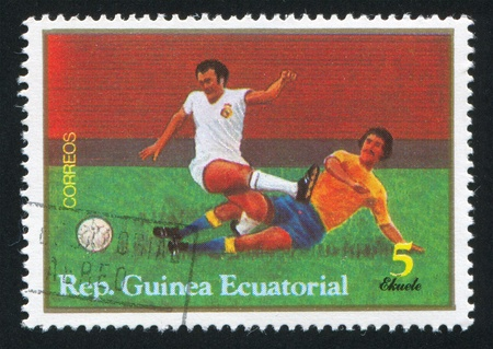 EQUATORIAL GUINEA - CIRCA 1979:  stamp printed by Equatorial Guinea, shows soccer, circa 1979.