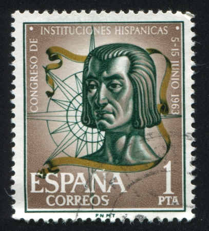 SPAIN - CIRCA 1963: stamp printed by Spain, shows Columbus and compass rose, circa 1963