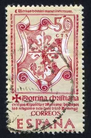 catechism: SPAIN - CIRCA 1966: stamp printed by Spain, shows Title Page of