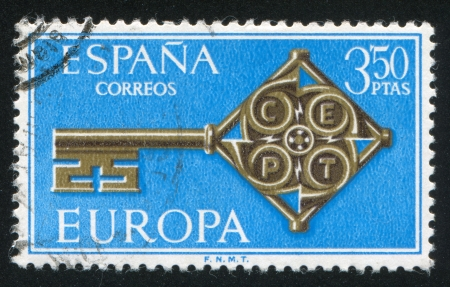 signifier: SPAIN - CIRCA 1968: stamp printed by Spain, shows Key with Europe CEPT emblem, circa 1968