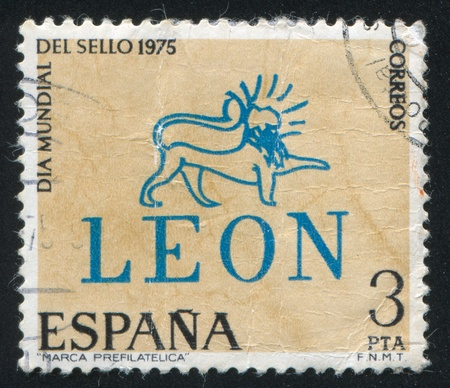 cancellation: SPAIN - CIRCA 1975: stamp printed by Spain, shows Pre-stamp Leon Cancellation, circa 1975 Editorial