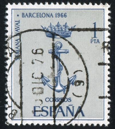supremacy: SPAIN - CIRCA 1966: stamp printed by Spain, shows Navy Emblem, circa 1966