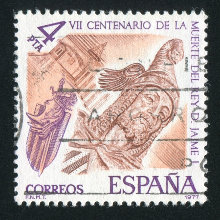 SPAIN - CIRCA 1977: stamp printed by Spain, shows King James I, circa 1977 Stock Photo - 15671352