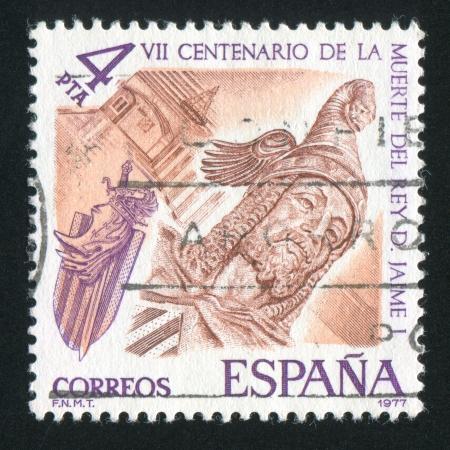 king james: SPAIN - CIRCA 1977: stamp printed by Spain, shows King James I, circa 1977