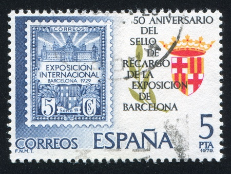 crown spire: SPAIN - CIRCA 1979: stamp printed by Spain, shows Barcelona Coat of Arms, circa 1979