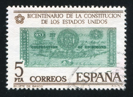 SPAIN - CIRCA 1976: stamp printed by Spain, shows Dollar banknote, Richmond, 1861, circa 1976