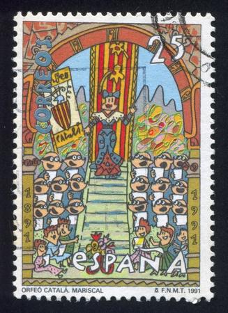 chóralne: HISZPANIA - CIRCA 1991: Stempel drukowane przez Hiszpanię, pokazuje Kataloński Choral Society, circa 1991 Publikacyjne
