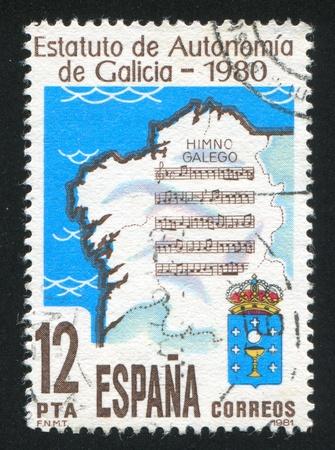 autonomia: ESPA�A - CIRCA 1981: sello impreso por Espa�a, muestra Autonom�a galicana, alrededor de 1981