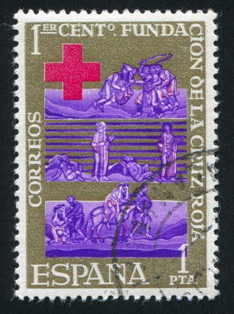 good samaritan: SPAIN - CIRCA 1963: stamp printed by Spain, shows The Good Samaritan,  circa 1963 Editorial