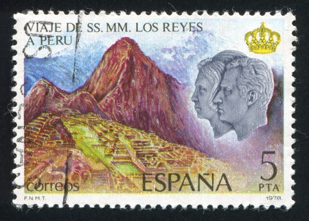 SPAIN - CIRCA 1978: stamp printed by Spain, shows King Juan Carlos I, Queen Sofia and Machu Picchu, circa 1978