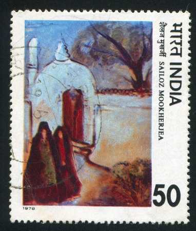 shroud: INDIA - CIRCA 1978: stamp printed by India, shows painting The Mosque by Sailoz Mookherjea, circa 1978