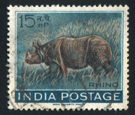 INDIA - CIRCA 1962: stamp printed by India, shows rhino, circa 1962
