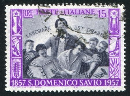savio: ITALY - CIRCA 1957: stamp printed by Italy, shows Saint Domenico Savio and Students, circa 1957