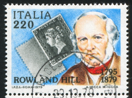 ITALY - CIRCA 1979: stamp printed by Italy, shows Penny Black and Rowland Hill, circa 1979
