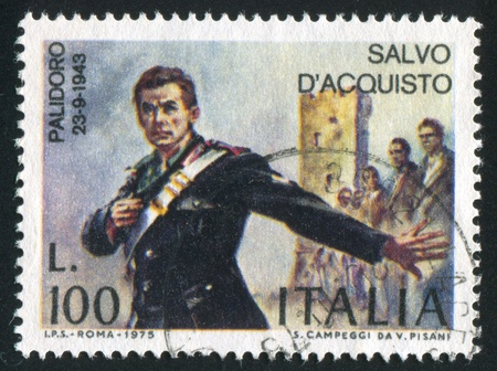carabineer: ITALY - CIRCA 1975: stamp printed by Italy, shows Salvo DAcquisto by Vittorio Pisano, circa 1975 Editorial