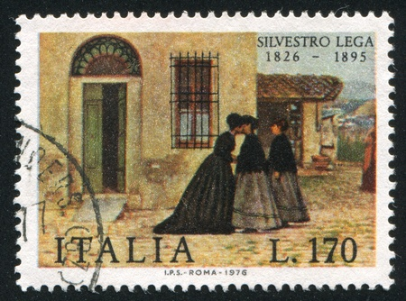 lega: ITALY - CIRCA 1976: stamp printed by Italy, shows The visit by Silvestro Lega, circa 1976 Editorial
