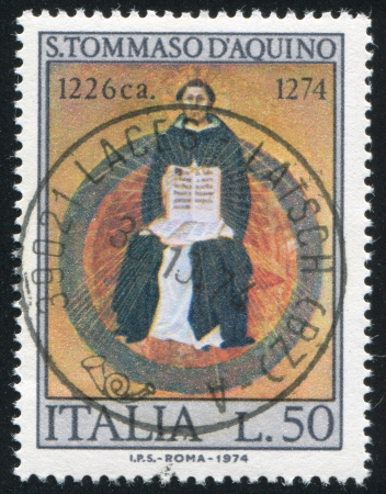 ITALY - CIRCA 1974: stamp printed by Italy, shows Saint Thomas Aquinas by Francesco Traini, circa 1974 Stock Photo - 15740908