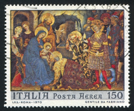 gentile: ITALY - CIRCA 1970: stamp printed by Italy, shows Adoration of the Kings by Gentile da Fabriano, circa 1970 Editorial