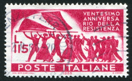 marchers: ITALY - CIRCA 1965: stamp printed by Italy, shows Marchers with Italian flag, circa 1965 Editorial