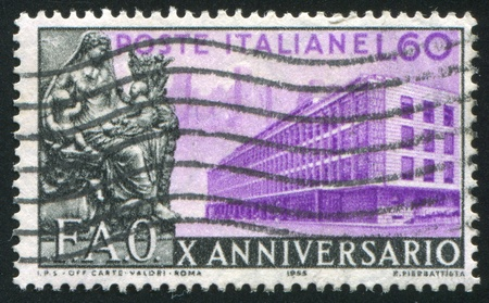 ITALY - CIRCA 1955: stamp printed by Italy, shows FAO headquarters in Rome, circa 1955 Stock Photo - 15740826