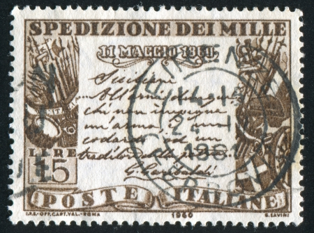 proclamation: ITALY - CIRCA 1960: stamp printed by Italy, shows Garibaldis proclamation to the Sicilians, circa 1960 Editorial