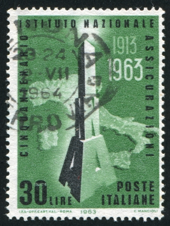 signifier: ITALY - CIRCA 1963: stamp printed by Italy, shows Map of Italy and INA initials, circa 1963 Editorial
