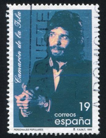 pseudonym: SPAIN - CIRCA 1996: stamp printed by Spain, shows Jose Monge Cruz, singer, circa 1996 Editorial