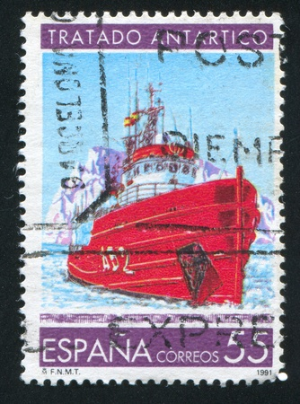 SPAIN - CIRCA 1991: stamp printed by Spain, shows Antarctic Treaty, Research Ship, circa 1991