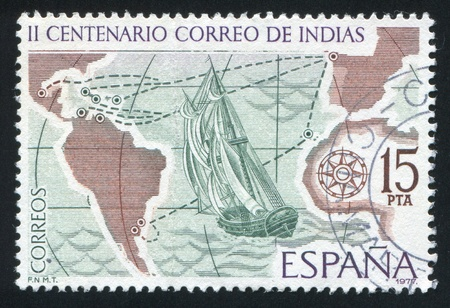 SPAIN - CIRCA 1977: stamp printed by Spain, shows Sailing Ship and Mail Routes, circa 1977
