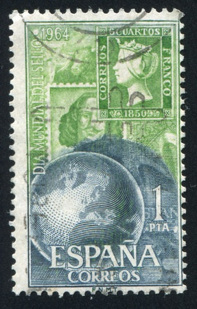 showpiece: SPAIN - CIRCA 1964: stamp printed by Spain, shows Stamp of 1850 and Modern Stamps, circa 1964 Editorial