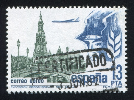 SPAIN - CIRCA 1981: stamp printed by Spain, shows Tower, Bridge and Airplane, circa 1981