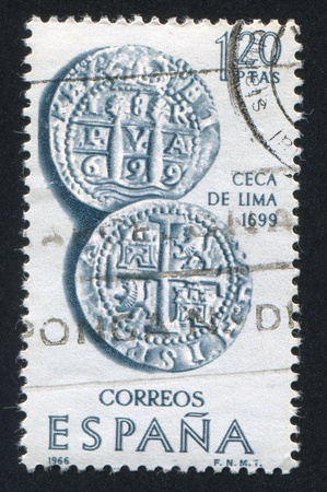 SPAIN - CIRCA 1966: stamp printed by Spain, shows Coins of Lima, circa 1966 Stock Photo - 15740938