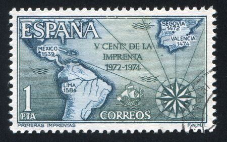 SPAIN - CIRCA 1974: stamp printed by Spain, shows Map of Spain and Americas with Dates of First Printings, circa 1974