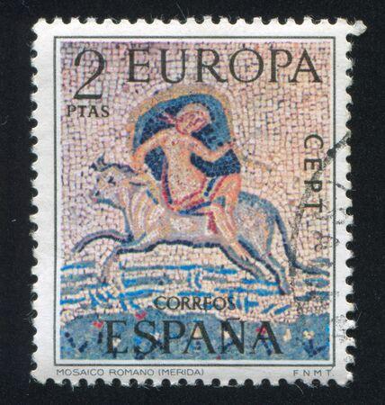 SPAIN - CIRCA 1973: stamp printed by Spain, shows Roman Mosaic, circa 1973