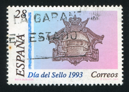 SPAIN - CIRCA 1993: stamp printed by Spain, shows Mailbox from Madrid postal museum, circa 1993