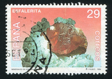 faceting: SPAIN - CIRCA 1994: stamp printed by Spain, shows Sphalerite, circa 1994 Editorial