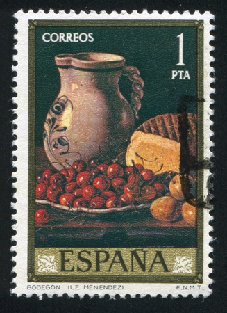 SPAIN - CIRCA 1976: stamp printed by Spain, shows Still Life by Menendez, circa 1976