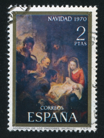 murillo: SPAIN - CIRCA 1970: stamp printed by Spain, shows Adoration of the Shepherds by Murillo, circa 1970 Editorial