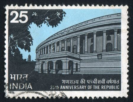 INDIA - CIRCA 1975: stamp printed by India, shows Parliament House, circa 1975 Stock Photo - 15849943