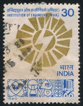 asterix: INDIA - CIRCA 1980: stamp printed by India, shows India Institution of Engineers, 60th Anniversary, circa 1980