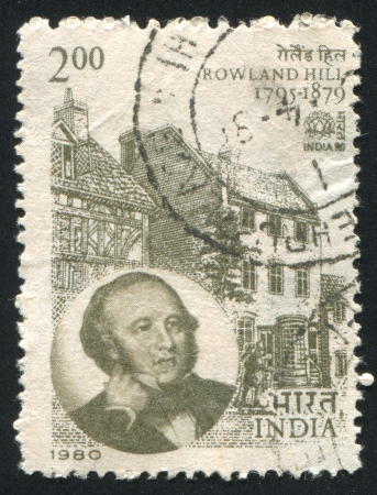 INDIA - CIRCA 1980: stamp printed by India, shows Rowland Hill Birthplace, Kidderminster, circa 1980 Stock Photo - 15849980