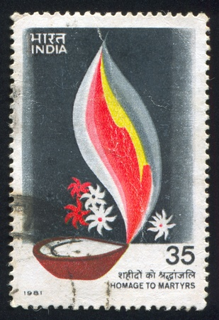 INDIA - CIRCA 1981: stamp printed by India, shows bowl, Homage to Martyrs, circa 1981 Stock Photo - 15849923