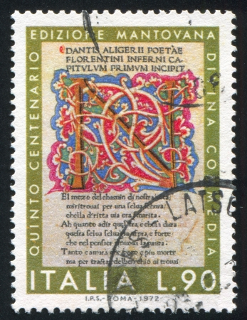 ITALY - CIRCA 1972: stamp printed by Italy, shows Page from Divine Comedy of Mantua edition, circa 1972