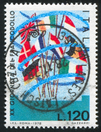 ITALY - CIRCA 1978: stamp printed by Italy, shows Eoropean flags, circa 1978