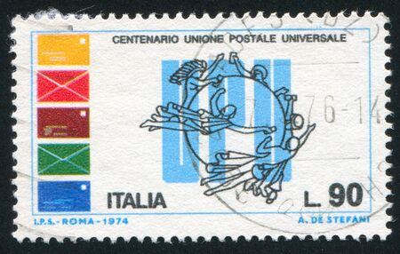 upu: ITALY - CIRCA 1974: stamp printed by Italy, shows Letters and emblem of Universal Postal Union, circa 1974