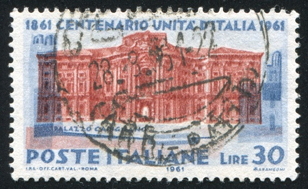 ITALY - CIRCA 1961: stamp printed by Italy, shows Carignano palace, circa 1961 Stock Photo - 15849890