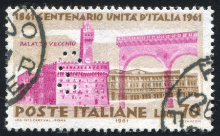 ITALY - CIRCA 1961: stamp printed by Italy, shows Palazzo Vecchio in Florence, circa 1961 Stock Photo - 15849882