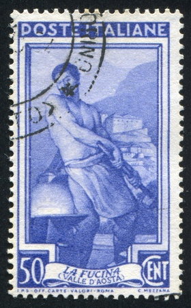 farriery: ITALY - CIRCA 1950: stamp printed by Italy, shows Blacksmith, circa 1950